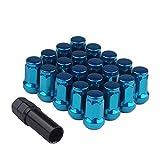 ホイールロックナット スチール製 20個セット 「M12 x P1.5」 高さ33mm 外7角 ホイールラグナット 4穴/5穴 袋ナット カラーナット レーシングナット ショートナット 19HEX/21HEX兼用ソケット付き 軽量 盗難防止 ブルー