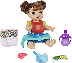 Baby Alive Happy Hungry Baby Brown Straight Hair Doll, Makes 50+ Sounds & Phrases, Eats & Poops, Drinks & Wets, for Kids Age 3 & Up