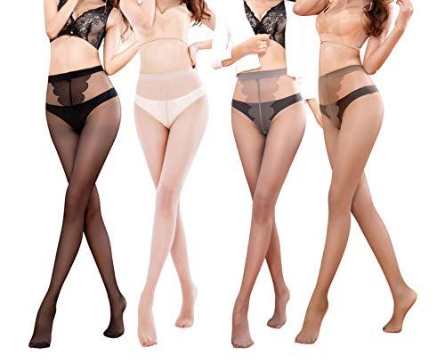 Yulaixuan Strumpfhose für Frauen 4 Paare Schmetterlingsmuster Schritt 15 Denier Feinstrümpfe in voller Länge Verstärkte (1 schwarz / 1 haut / 1 grau / 1 kaffee)