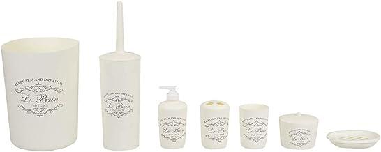 Home Basics Paris Collection 7 Piece Bath Ensemble Bathroom Accessory Set - Toilet Brush, Tumbler, Tootbrush Holder, Soap ...
