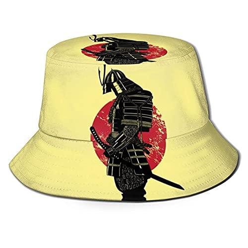 Bokueay Samurai Sunset Samurai Bucket Hat, Sombrero Plegable para el Sol, Sombrero de Pescador al Aire Libre para Mujeres y Hombres