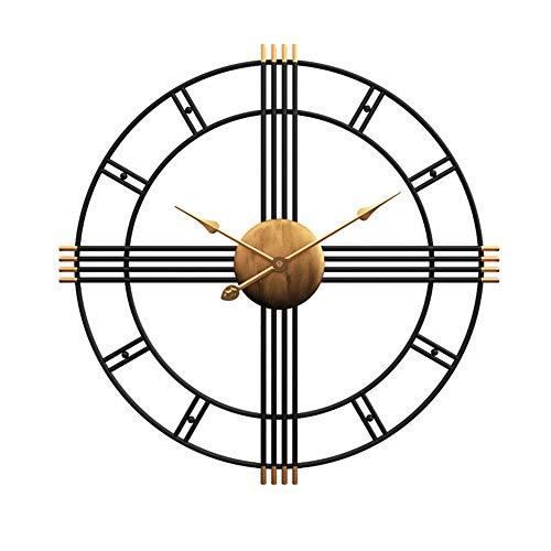 Stands Reloj de Pared nórdico Creativo Simple Retro silencioso Metal Hierro Forjado Romano diseño Moderno decoración de Sala de Estar Wall Clock de Cuarzo