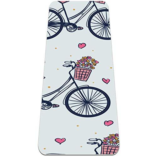 Eslifey Esterillas de yoga para mujer y niñas, con patrón de vectores de bicicleta, gruesas, antideslizantes, para yoga, colchonetas, (72 x 24 pulgadas, 1/4 pulgadas de grosor)