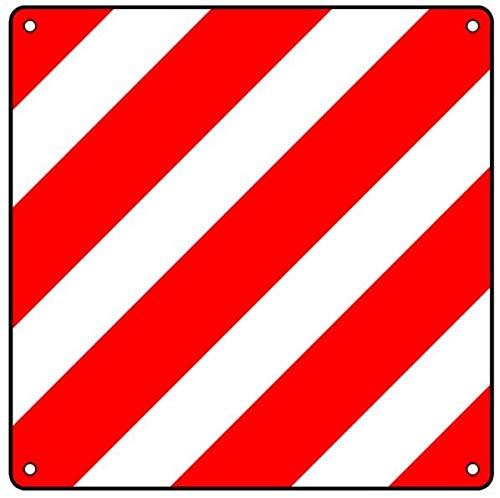 1x Warntafel Warnfolie Pflicht in Italien aus Aluminium reflektierend 500x500mm rot-weiß Warnschild für Auto Fahrradträger Wohnmobil