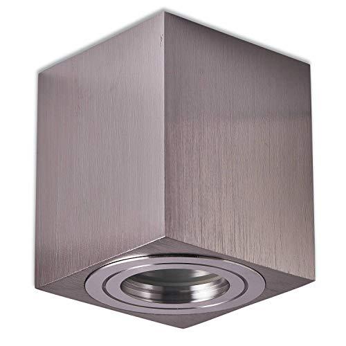 Trano LED Aufbauleuchte Aufbaustrahler GU10 230V Edelstahl gebürtstet 7,5 Watt dimmbar neutralweiß – Aufbau-spot IP44 für Bad/Außen als Deckenleuchte und Deckenstrahler – mit