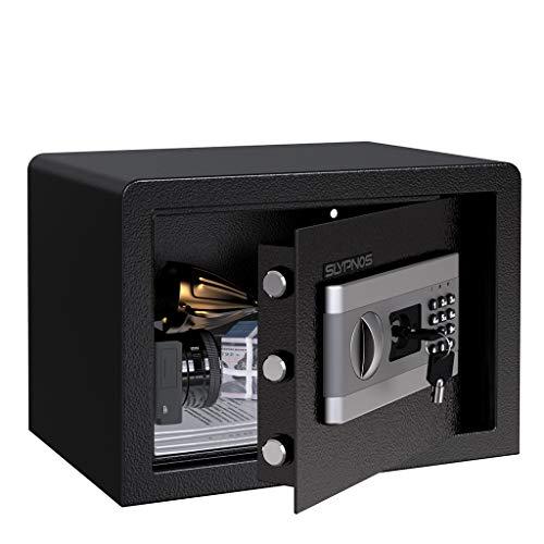 SLYPNOS - Caja Fuerte (16L), Caja Fuerte Convencionales de Seguridad, Caja de Seguridad (Regalo con 4 AA batterias+2 Llaves de Emergencia), Anti-Vibración Electroimán (Grande: 35x25x25 cm)