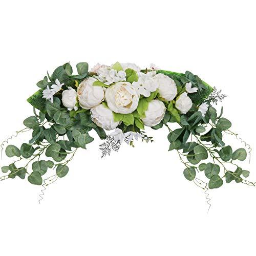 SHACOS Pfingstrosen Kranz Vintage Dekokranz Türkranz Frühling Künstlich Blumenkranz Kunstblumen Tür Kranz Natur Für Hochzeit, Party, Garden 75cm