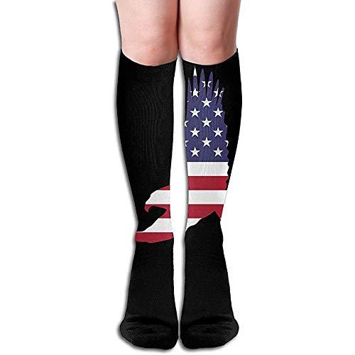 WlyFK sokken bovenbenen hoge sokken Us Flag Eagle Athletic kniekousen 50 cm