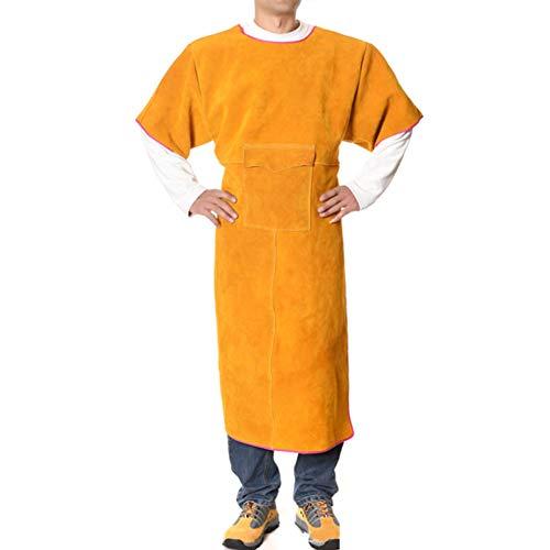 XXLHH zweetjacks, leren jack anti-verbranding lassen schort met mouwen en zakken geel één maat 120cm