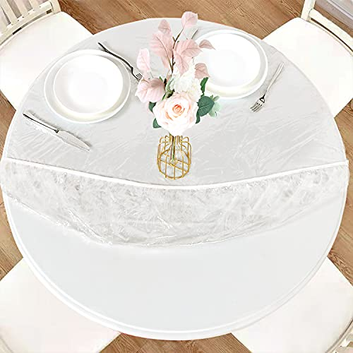 LUSHVIDA Round Waterproof Table Cover Elastic Tablecloth Vinyl Fitted Table Cover Elastic Edged Plastic Table Cover Fits Tables up to 45'-56' R Clear