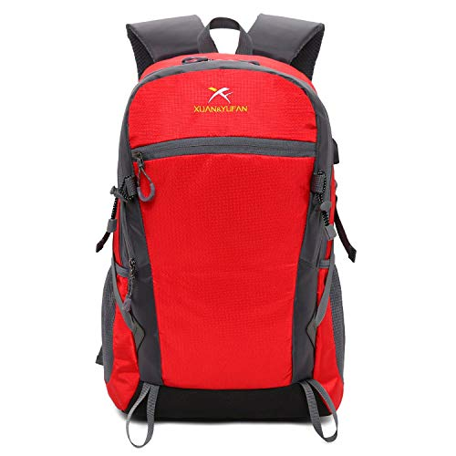 SHRAY 20-35L USB Charging Backpack Mountaineering Bag Men and Women Motion Backpack Outdoor Travel Bag Red
