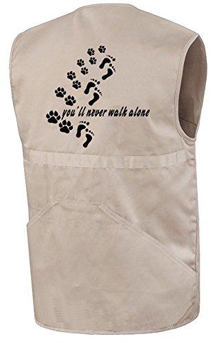 Hundesport-Weste | You´ll Never Walk Alone | Beige | Brust- und Rückendruck | Größe M