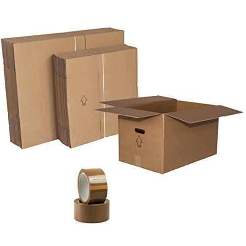 Simba Paper Design Scatole Trasloco monolocale 40mq Scatole di Cartone Doppia Onda : 10 scatole cm. 60x40x35 + 10 scatole cm. 40x30x35 + 2 Nastri Adesivi