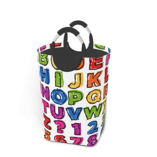 Just Life Colorful Doodle Alphabet And Numbers Laundry Hamper Basket Bucket Foldable Dirty Clothes Bag Washing Bin Toy Storage Organizer for College Dorms, Kids Bedroom,Bathroom
