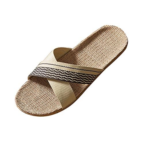 QIMITE Pantofole - Sandali Estivi in Canapa Intrecciata con Spalline da Donna Scivoli Piatti Antiscivolo con Fori di Paglia Pantofola di Lino Pantofole Casual Beach, caffè, 38