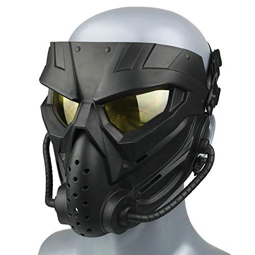Wwman Máscara de Paintball CS para Uso en Exteriores, máscara táctica de Cara Completa Resistente al Desgaste con Gafas antivaho, para adultos adolescentes (WWZL3-BK-Y)