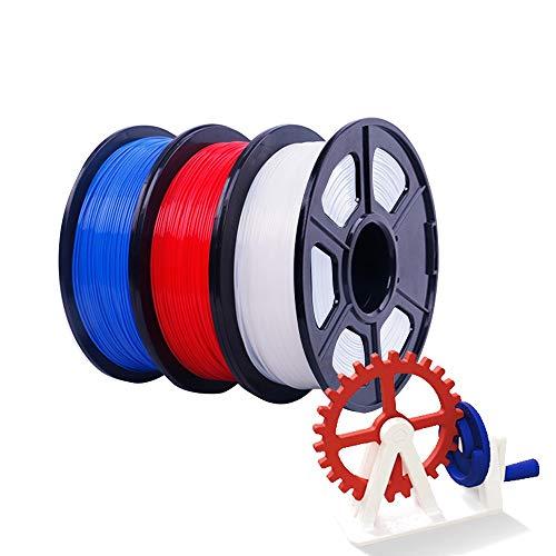 massager 3d printer filament PLA filament for 3D printer 1.75mm 1kg (2.2 lb), 3 colors-blue, white, red, dimensional accuracy +/- 0.02mm (Color : 3 sets)