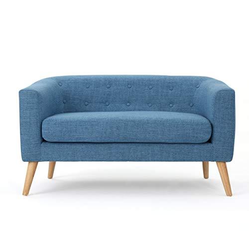 Bridie Mid-Century Modern Muted Blue Fabric Loveseat