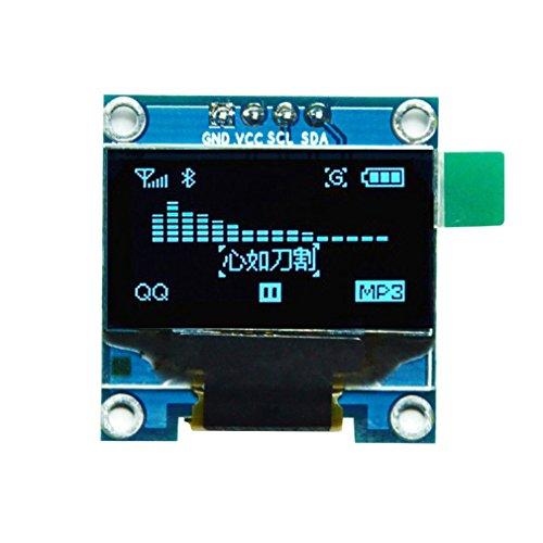 Hiletgo 2,4cm Ssd1306I2C IIC SPI Serial 12864OLED écran LCD pour Adafruit Arduino Beaglebones Raspberry Pi 3.3–5V 4broches/7broches trois polices de caractères Couleur en option Blanc/bleu/jaune Blule