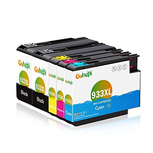 Gohepi 932XL/933XL Kompatibel für Druckerpatronen HP 932XL 933XL HP Officejet 6600 6700 6700 premium 6100 7612 7110 7610 Patronen - 2 Schwarz/Blau/Rot/Gelb 5er-Pack