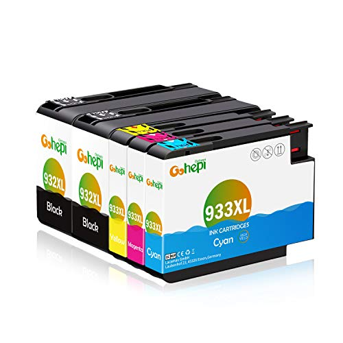Gohepi 932XL 933XL Compatible con HP 932 XL 933 XL Cartuchos de tinta Reemplazo para HP Officejet 6600 6700 6100 7612 7110 7610 6700 premium Pack de 5 (2 Negro 1 Cian 1 Magenta 1 Amarillo)