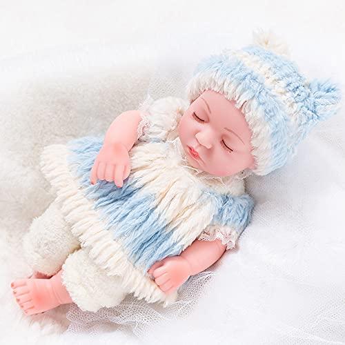 XXBJFMY 30Cm Bebes Reborn Silicona Blanda, Nicery Reborn Baby Doll, Simulación Baby Reborn Doll para Niños En La Vida Real,Azul,B