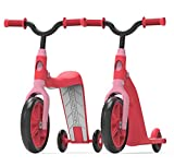 Swagtron K6 Toddler Scooter, Convertible 4-in-1 Ride-On Balance Trike & Training Bike for 2-5 Year Olds — ASTM F963 Certified (Pink)