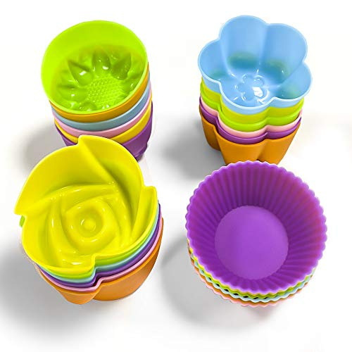 Silicone Cupcake Liner , Mini Silicone Baking Cups Reusable Pastry Muffin Molds 4 Shapes ,24 Pieces Colorful
