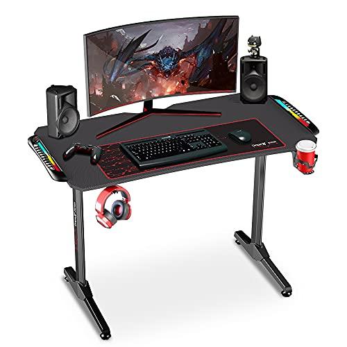 Dripex Gaming Tisch mit LED, ergonomischer Schreibtisch mit Mauspad, Getränke-, Gamepad- und Kopfhörerhalter, Kohlefaser-Desktop, für Arbeit und Freizeit