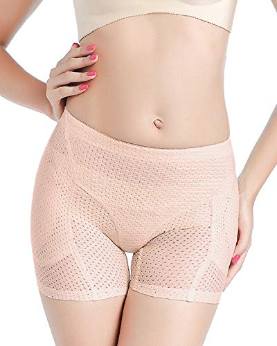 Shymay Women's Hip Enhancer Breathable Mesh Butt Lifter Padded Panty Waist Girdle Seamless Control Panties,Nude1,Large