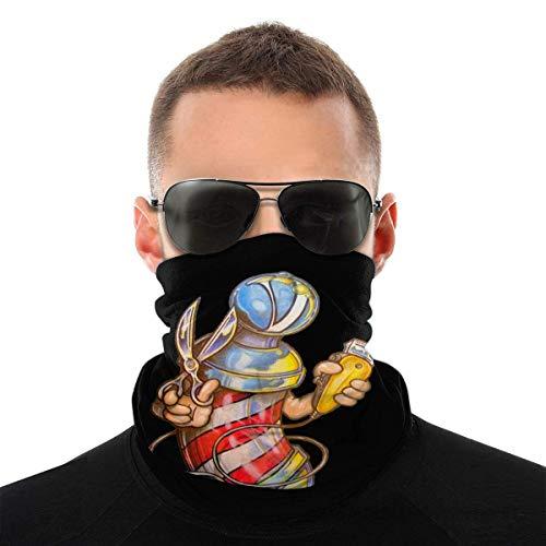 Nother Divertido cartel de barbero con luz y cortadora de tijeras de corte vintage, bandana antiviento lavable, máscara antipolvo, pasamontañas, boca