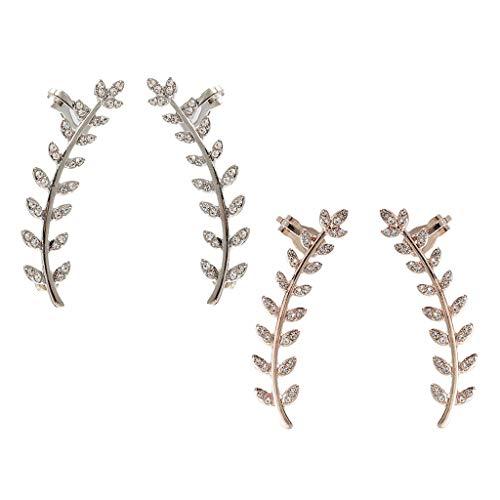 4Pcs Lady Chic Diamante Leaf Ear Climber Wedding Club Earrings 2 Colors