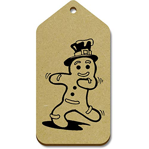Azeeda 10 x Large 'Dancing Gingerbreadman' Wooden Gift Tags (TG00093748)