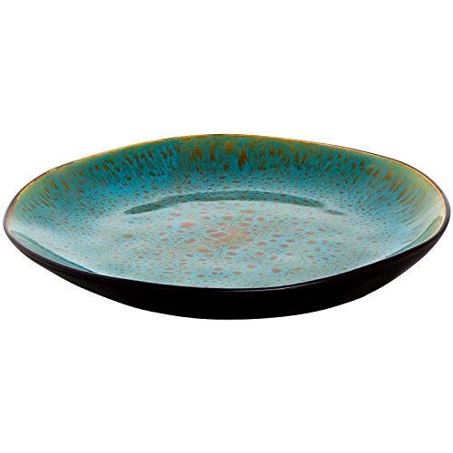 palmer 4 x Lotus Teller flach Steingut Keramik türkis Dunkelbraun Ø 20,5 cm