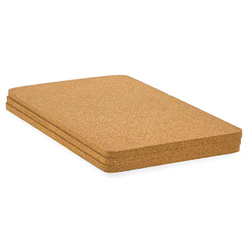 Rectangle Cork Trivet Set for Dining Table and Hot Dishes 125 x 66 In 3 Pack