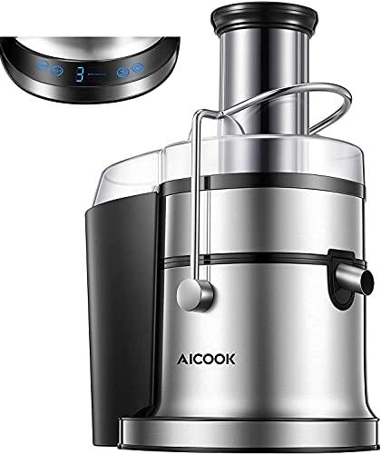 AICOOK Estrattore di succo per verdure e frutta, 800 W centrifuga, con 5 impostazioni (display LC), grande apertura di riempimento da 75 mm, con funzione antigoccia e protezione da surriscaldamento.