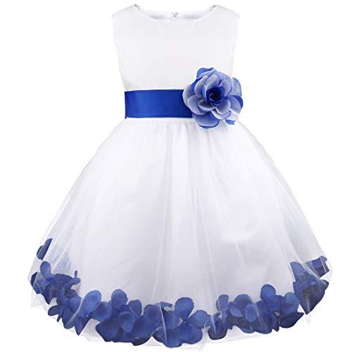 iEFiEL Robe Demoiselle d'Honneur Filles Pétales Noeud Papillon pour Enfant - Bleu foncé 9-10 ans