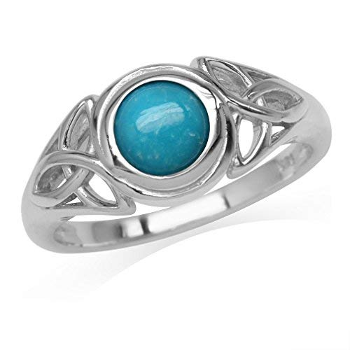 Silvershake 6mm Genuine Round Arizona American Turquoise White Gold Plated 925 Sterling Silver Triquetra Celtic Knot Ring Jewelry for Women Size 6