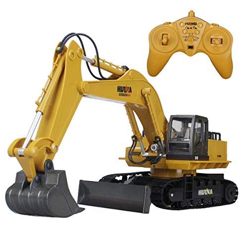 FEEE-ZC Excavadora de función Completa sobre orugas de aleación de 2.4Ghz y 11 Canales, camión de construcción con Control Remoto por Radio R/C RTR (Excavadora)