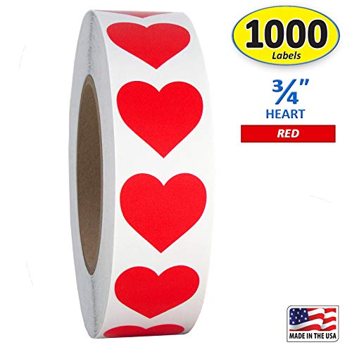 Red Heart Shaped Sticker Labels,...