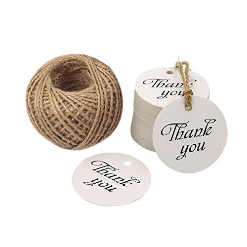 """Etichette """"Thank You"""" (Grazie) per regalo di Natale, 5cm, decorazione da appendere, con 30m di spago di iuta White"""