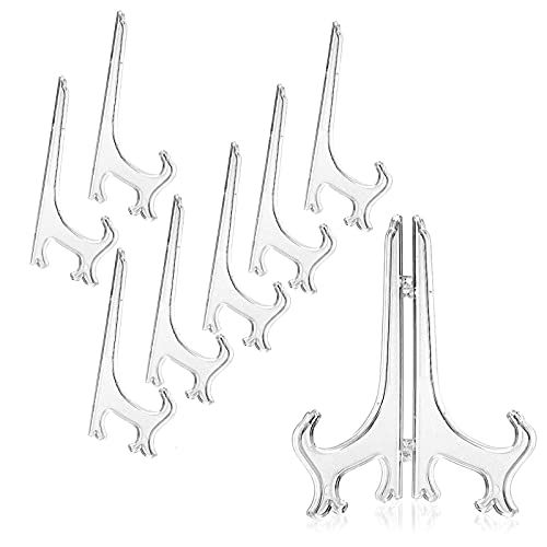 LEBQ 6 Pulgadas de Caballetes de Expositor de Plástico Soporte de Plato para Decoración de Cuadro Hogar Boda, 12 Piezas (Transparente)