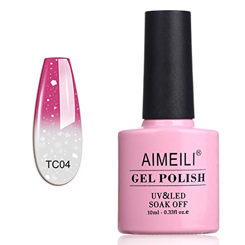 AIMEILI Esmalte Semipermanente De Uñas Temperatura Cambio De Color Camaleón Soak Off UV LED Uñas De Gel - Hot Pink to Glitter White (TC04) 10ml