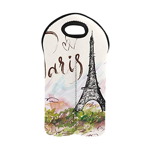 Bolsas para botellas de vino Art Paris Torre Eiffel Pintura a la acuarela Bolsa de vino para viajes Portabotellas doble Bolsas de degustación de vinos Soporte para botellas de vino