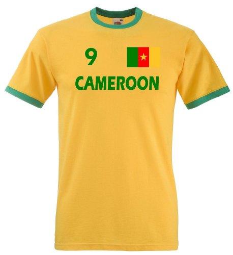 Fruit of the Loom Kamerun Herren T-Shirt Cameroon Retro Trikot Fan Shirt M