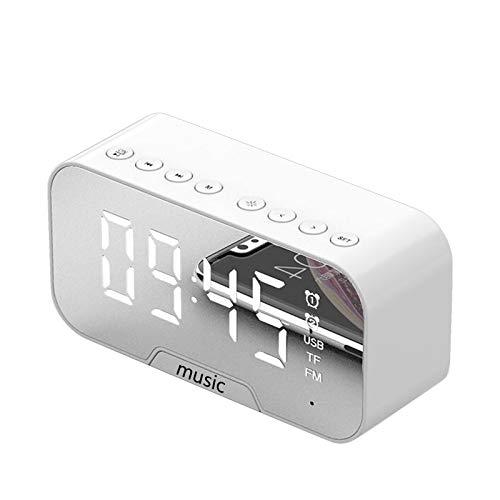 YUWEX Digitaler Wecker LED Doppelwecker mit Drahtloser Bluetooth-Lautsprecher & FM Radio & Intelligente Helligkeitsanpassung & Temperaturalarmanzeige für Wohnzimmer:Schlafzimmer