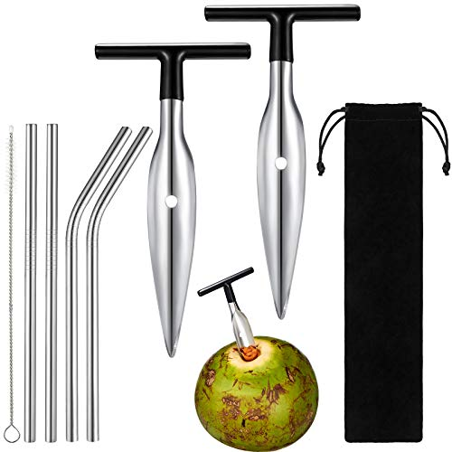 2 Pieces Coconut Opener Tool Stainless Steel Coconut Opener and 4 Pieces Stainless Steel Straw with...