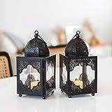 Indii Koko Moroccan Black Metal Candle Lantern Set of 2 Lanterns. Decorative Metal Lanterns. Two Small Black Lanterns Decorative. Indoor Lanterns Decorative. Tabletop Black Decorative Lantern 9x4x4