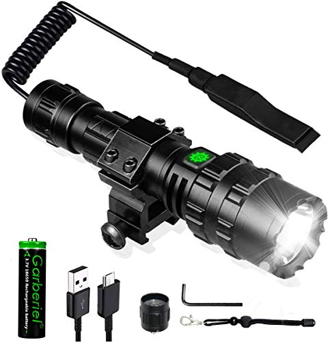 2 in 1 L2 LED Tactical Flashlight with Picatinny Rail Mount and Tactile Pressure Switch, Rechargeable Scout Weapon Light 3000 Lumens Super Bright 5 Modes Waterproof for Outdoor Hunting Camping