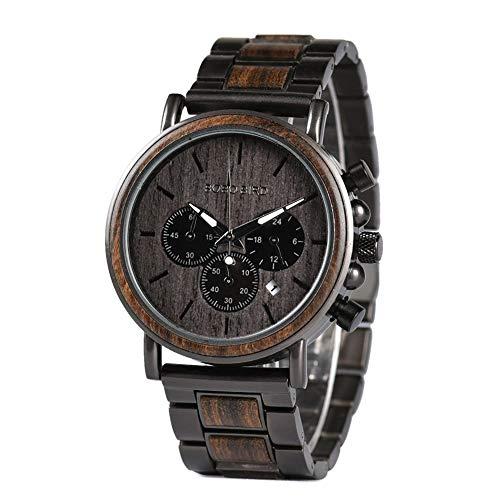 Relojes de Madera Hombre de Acero Inoxidable Reloj de Madera cronógrafo de Cuarzo